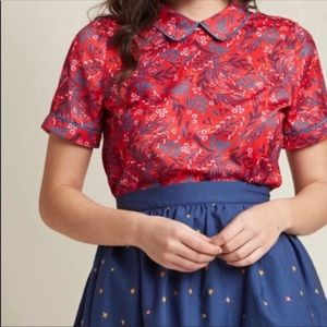 ModCloth Red Floral Top With Peter Pan Collar